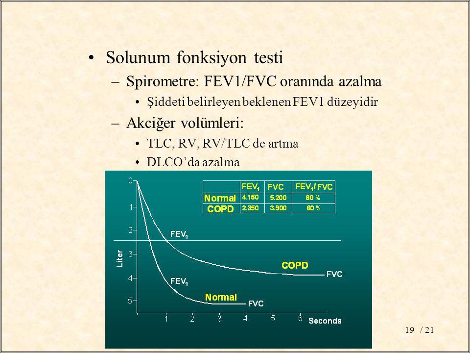 / 2119 Solunum fonksiyon testi –Spirometre: FEV1/FVC oranında azalma Şiddeti belirleyen beklenen FEV1 düzeyidir –Akciğer volümleri: TLC, RV, RV/TLC de artma DLCO'da azalma