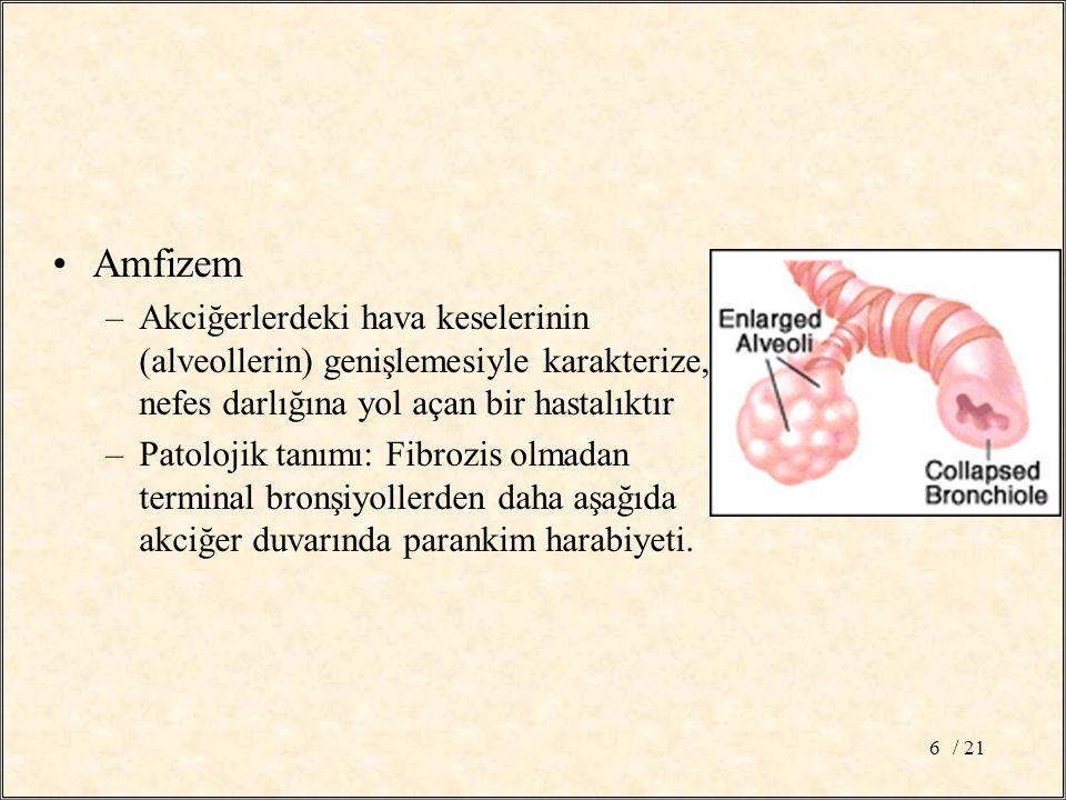 / 216 Amfizem –Akciğerlerdeki hava keselerinin (alveollerin) genişlemesiyle karakterize, nefes darlığına yol açan bir hastalıktır –Patolojik tanımı: Fibrozis olmadan terminal bronşiyollerden daha aşağıda akciğer duvarında parankim harabiyeti.