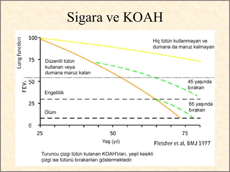 / 2120 KOAH'da Sınıflandırma GOLD Kriterleri –Stage O: Normal spirometre; kronik semptomlar (öksürük, balgam) –Stage 1 (hafif): kronik semptom olsun veya olmasın FEV1/FVC % 80.