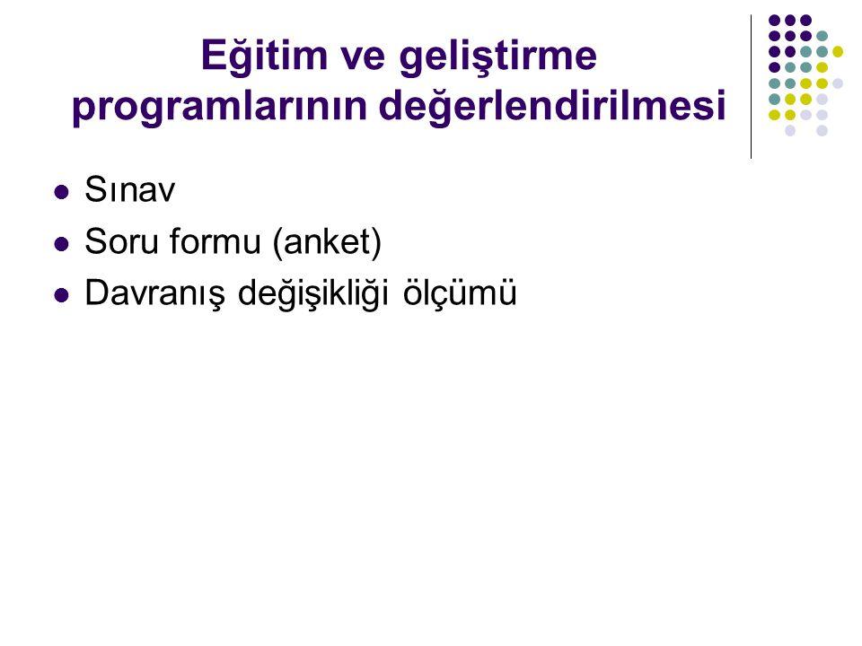 Eğitim ve geliştirme programlarının değerlendirilmesi Sınav Soru formu (anket) Davranış değişikliği ölçümü