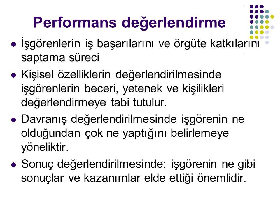 Performans değerlendirme İşgörenlerin iş başarılarını ve örgüte katkılarını saptama süreci Kişisel özelliklerin değerlendirilmesinde işgörenlerin bece