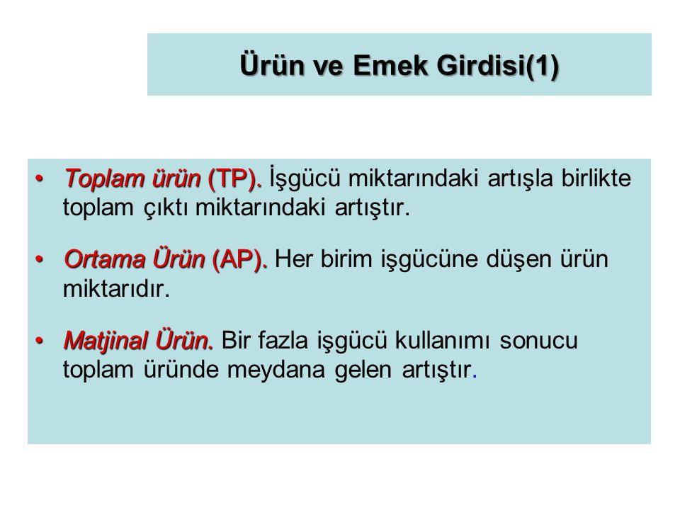 Ürün ve Emek Girdisi(1) Toplam ürün (TP).Toplam ürün (TP).