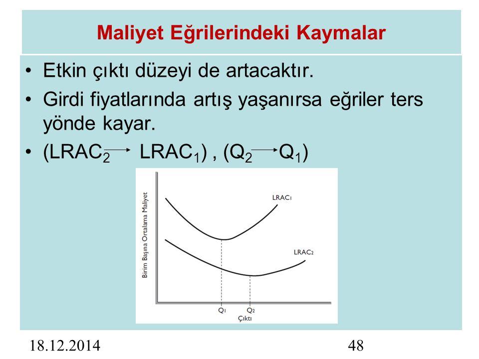 18.12.201448 Maliyet Eğrilerindeki Kaymalar Etkin çıktı düzeyi de artacaktır.