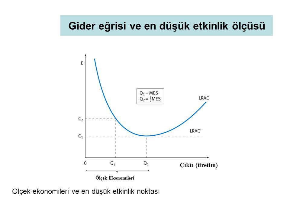 Gider eğrisi ve en düşük etkinlik ölçüsü Ölçek ekonomileri ve en düşük etkinlik noktası Ölçek Ekonomileri Çıktı (üretim)