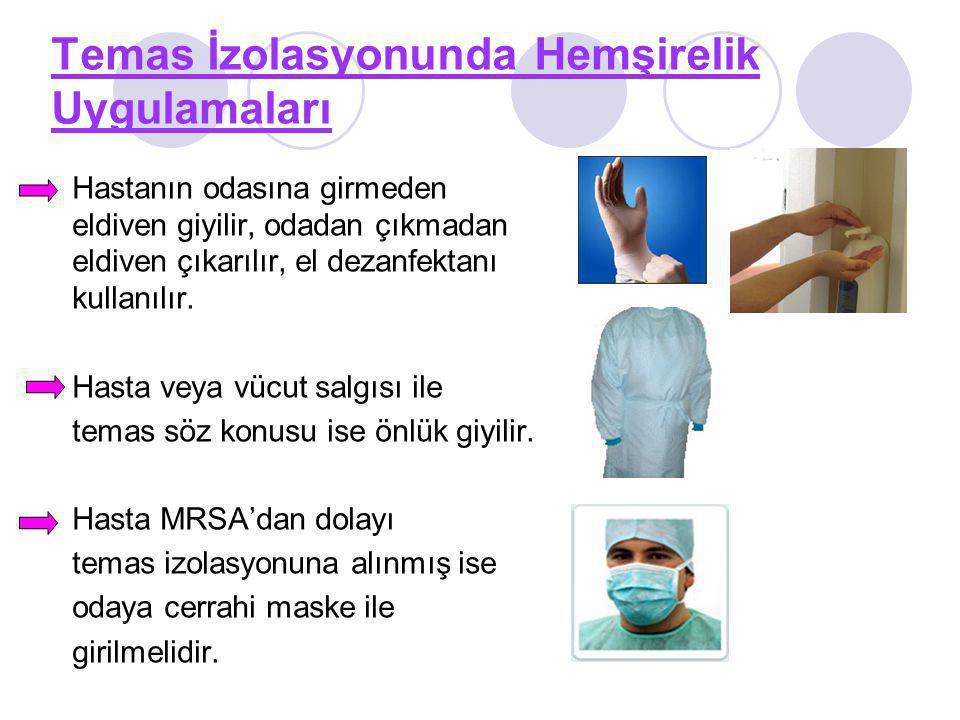Temas İzolasyonunda Hemşirelik Uygulamaları Hastanın odasına girmeden eldiven giyilir, odadan çıkmadan eldiven çıkarılır, el dezanfektanı kullanılır.