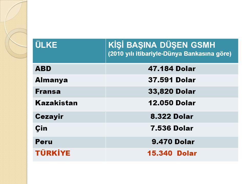 ÜLKEKİŞİ BAŞINA DÜŞEN GSMH (2010 yılı itibariyle-Dünya Bankasına göre) ABD47.184 Dolar Almanya37.591 Dolar Fransa33,820 Dolar Kazakistan12.050 Dolar C