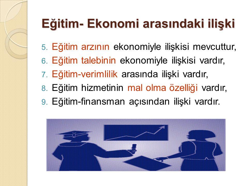 Eğitim- Ekonomi arasındaki ilişki 5. Eğitim arzının ekonomiyle ilişkisi mevcuttur, 6. Eğitim talebinin ekonomiyle ilişkisi vardır, 7. Eğitim-verimlili