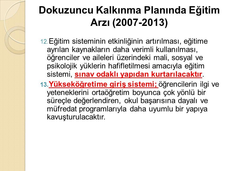 Dokuzuncu Kalkınma Planında Eğitim Arzı (2007-2013) 12. Eğitim sisteminin etkinliğinin artırılması, eğitime ayrılan kaynakların daha verimli kullanılm