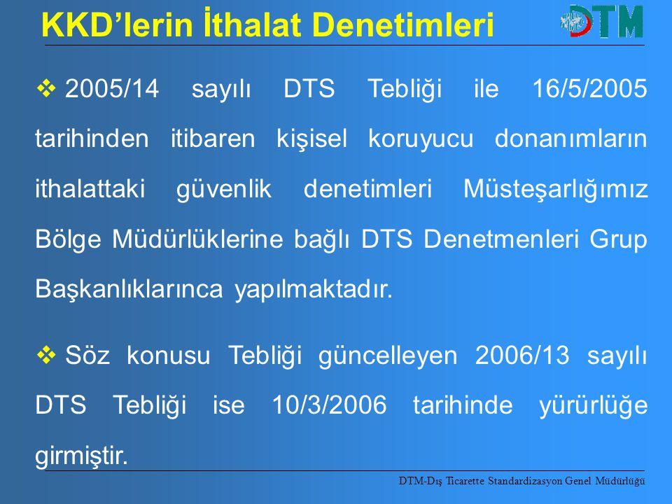 KKD'lerin İthalat Denetimleri  2005/14 sayılı DTS Tebliği ile 16/5/2005 tarihinden itibaren kişisel koruyucu donanımların ithalattaki güvenlik deneti