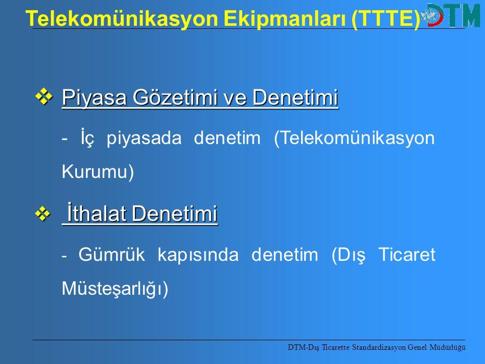 DTM-Dış Ticarette Standardizasyon Genel Müdürlüğü  Piyasa Gözetimi ve Denetimi - İç piyasada denetim (Telekomünikasyon Kurumu)  İthalat Denetimi - G