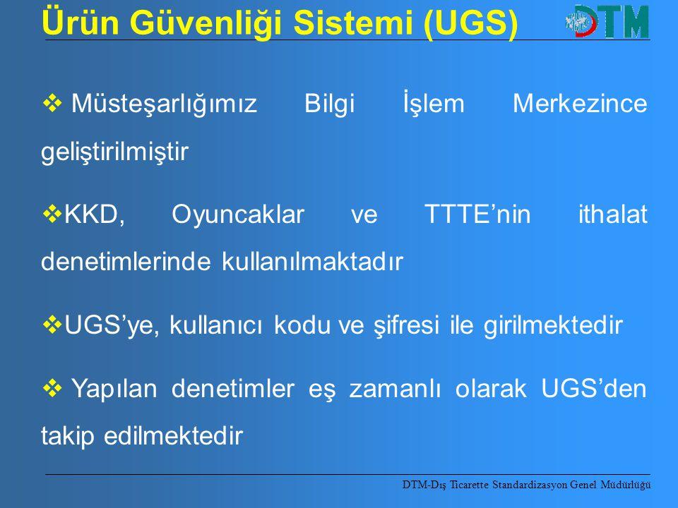 Ürün Güvenliği Sistemi (UGS)  Müsteşarlığımız Bilgi İşlem Merkezince geliştirilmiştir  KKD, Oyuncaklar ve TTTE'nin ithalat denetimlerinde kullanılma