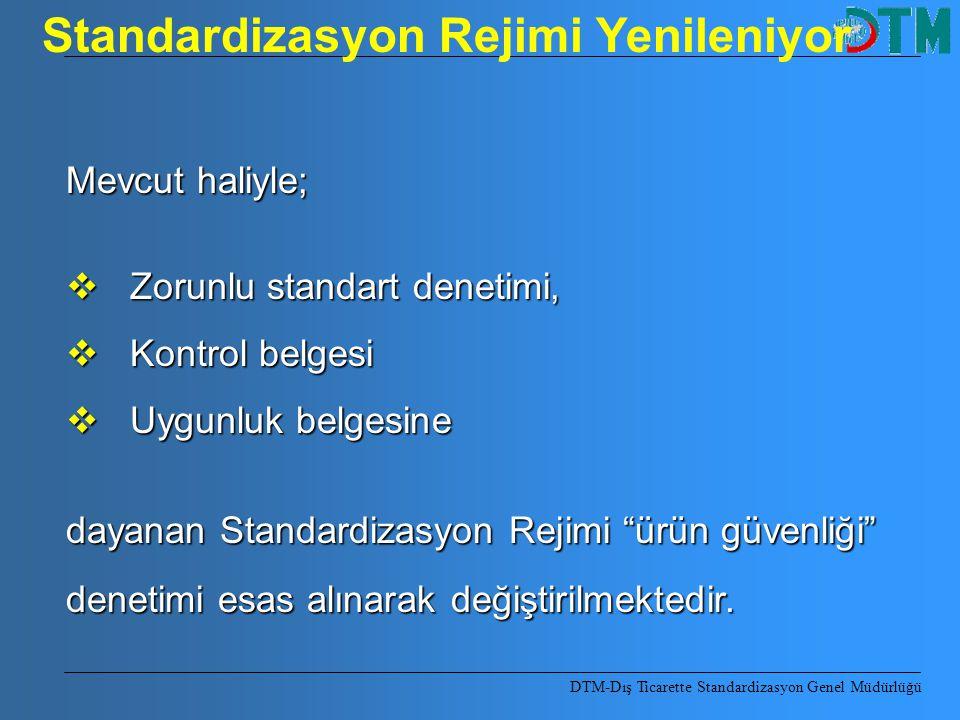 DTM-Dış Ticarette Standardizasyon Genel Müdürlüğü Standardizasyon Rejimi Yenileniyor Mevcut haliyle;  Zorunlu standart denetimi,  Kontrol belgesi 