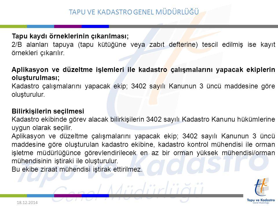 TAPU VE KADASTRO GENEL MÜDÜRLÜĞÜ 18.12.2014 Belediye encümeni veya il encümenince olumlu karar verilmeyen 2/B alanları ile 5403 sayılı Toprak Koruma ve Arazi Kullanımı Kanununun yürürlüğe girdiği 19/07/2005 tarihinden sonra kullanıma başlanılmış 2/B alanlarında, Kanunun 8 inci maddesinde öngörülen miktarların altındaki miktarlarla parçalara ayrılmak suretiyle kullanıma başlanılmış tarım arazisi nitelikli 2/B alanlarında ise zemindeki fiili kullanım durumuna göre sınırlandırma yapılması mümkün olmadığından, 2/B alanlarının bir bütün olarak sınırlandırması yapılır.