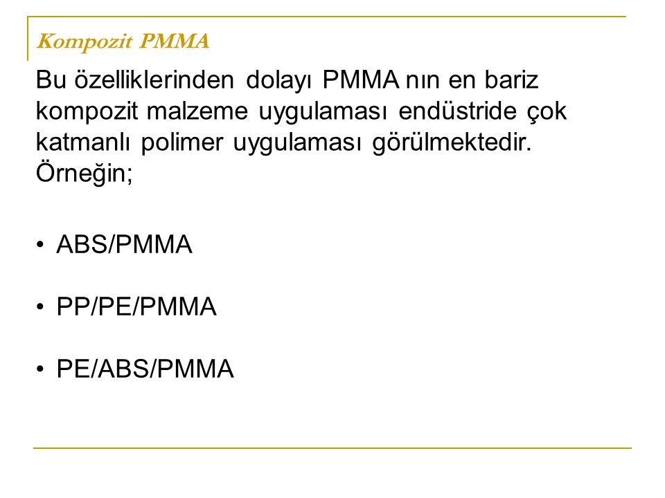 Kompozit PMMA ABS/PMMA PP/PE/PMMA PE/ABS/PMMA Bu özelliklerinden dolayı PMMA nın en bariz kompozit malzeme uygulaması endüstride çok katmanlı polimer