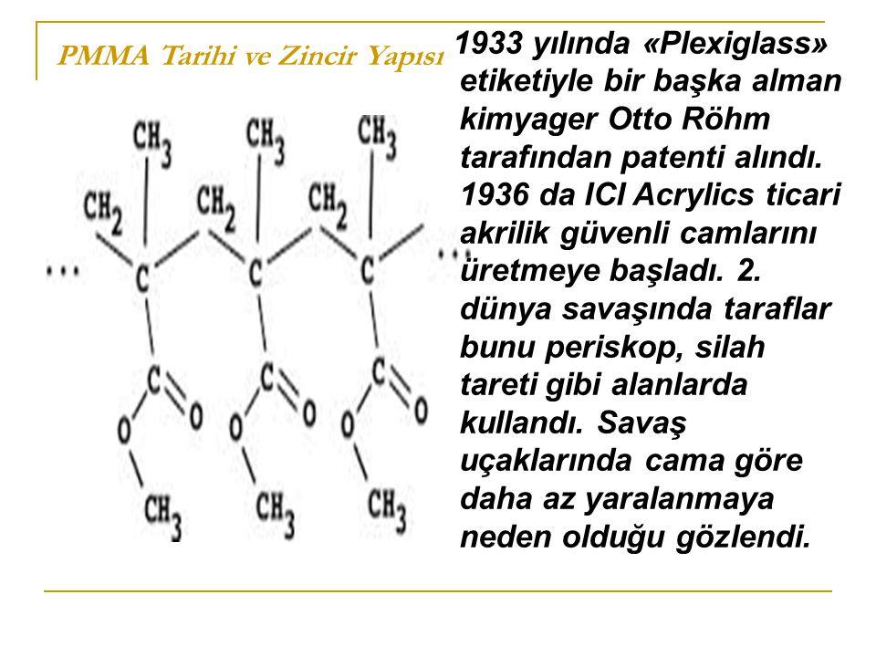 PMMA Tarihi ve Zincir Yapısı 1933 yılında «Plexiglass» etiketiyle bir başka alman kimyager Otto Röhm tarafından patenti alındı. 1936 da ICI Acrylics t