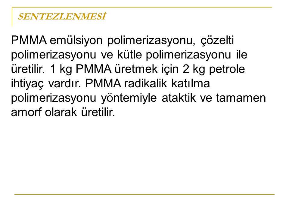 SENTEZLENMESİ PMMA emülsiyon polimerizasyonu, çözelti polimerizasyonu ve kütle polimerizasyonu ile üretilir. 1 kg PMMA üretmek için 2 kg petrole ihtiy