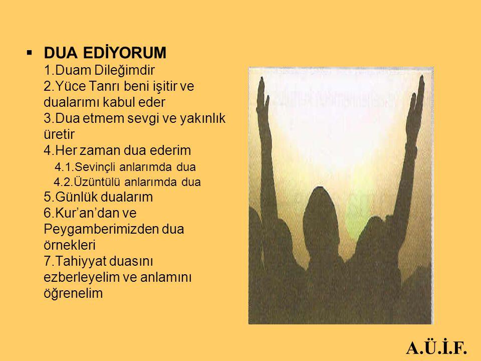 HEDEF4-ETKİNLİK3 Kullarım sana,beni sorduğunda(söyle onlara):Ben çok yakınım.Bana dua ettiği vakit dua edenin dileğine karşılık veririm. Kullarım sana,beni sorduğunda(söyle onlara):Ben çok yakınım.Bana dua ettiği vakit dua edenin dileğine karşılık veririm. BAKARA152 BAKARA152 …Bana dua edin,kabul edeyim… …Bana dua edin,kabul edeyim… MÜMİN 60 MÜMİN 60 A.Ü.İ.F.
