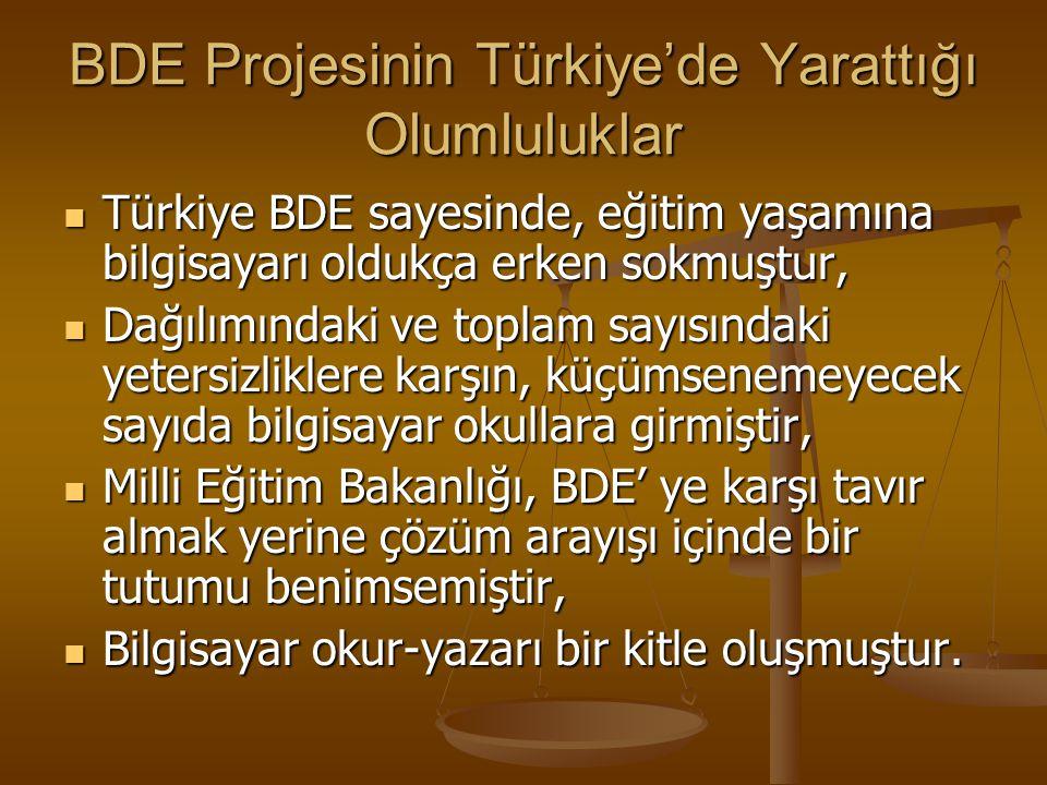 BDE'nin Türkiyedeki Gelişimi 1987 yılı başlarında BDE tekrar gündeme geldi. Eğitimde kullanılsın mı kullanılmasın mı tartışmaları başladı. 1987 yılı b