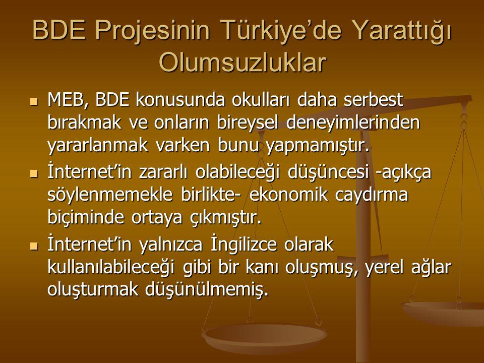 BDE Projesinin Türkiye'de Yarattığı Olumsuzluklar BDE, donanım ağırlıklı olmak üzere bilgisayar ve yazılımdan ibaret olarak algılanmış, BDE' nin yeni