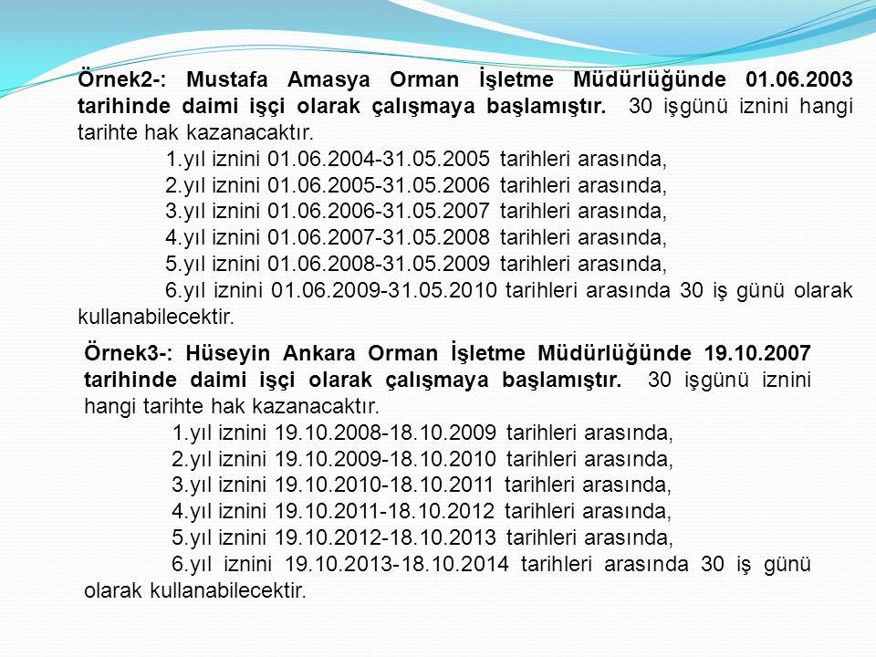 Örnek2-: Mustafa Amasya Orman İşletme Müdürlüğünde 01.06.2003 tarihinde daimi işçi olarak çalışmaya başlamıştır. 30 işgünü iznini hangi tarihte hak ka