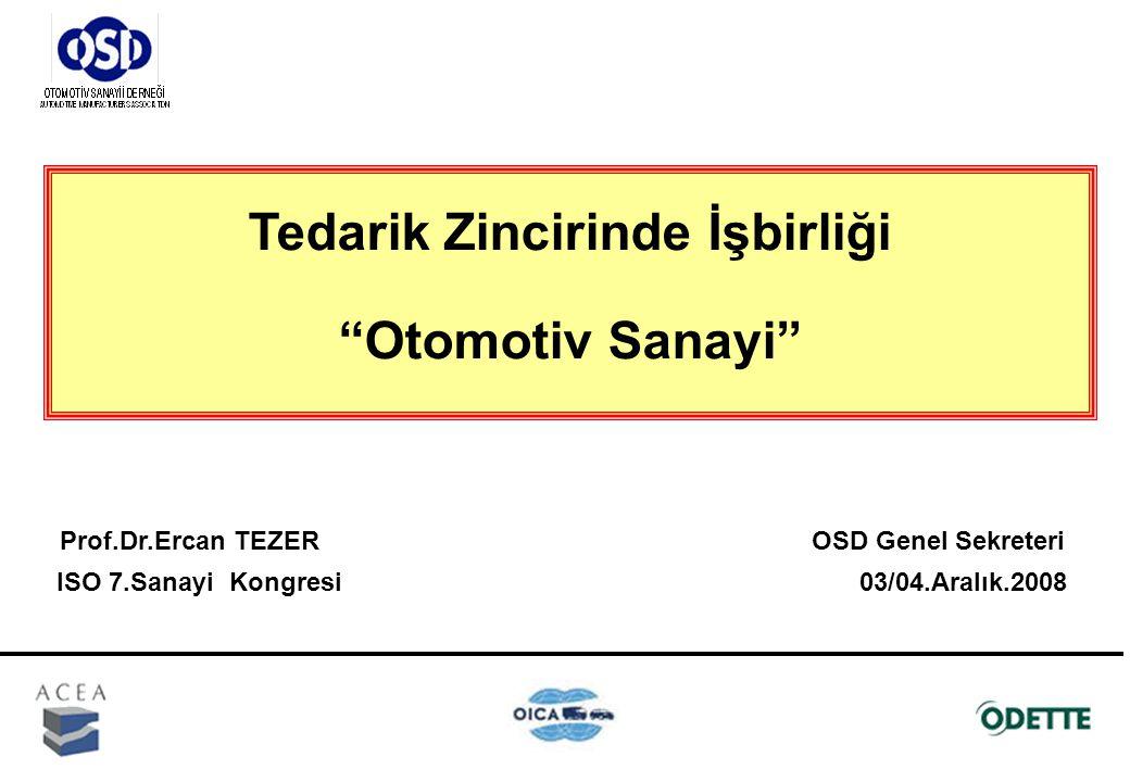 Tedarik Zincirinde İşbirliği Otomotiv Sanayi Prof.Dr.Ercan TEZER OSD Genel Sekreteri ISO 7.Sanayi Kongresi 03/04.Aralık.2008