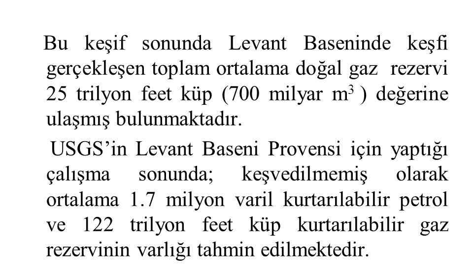 Bu keşif sonunda Levant Baseninde keşfi gerçekleşen toplam ortalama doğal gaz rezervi 25 trilyon feet küp (700 milyar m 3 ) değerine ulaşmış bulunmaktadır.
