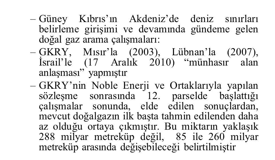 –Güney Kıbrıs'ın Akdeniz'de deniz sınırları belirleme girişimi ve devamında gündeme gelen doğal gaz arama çalışmaları: –GKRY, Mısır'la (2003), Lübnan'la (2007), İsrail'le (17 Aralık 2010) münhasır alan anlaşması yapmıştır –GKRY'nin Noble Enerji ve Ortaklarıyla yapılan sözleşme sonrasında 12.