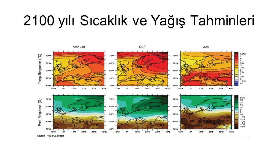 2100 yılı Sıcaklık ve Yağış Tahminleri