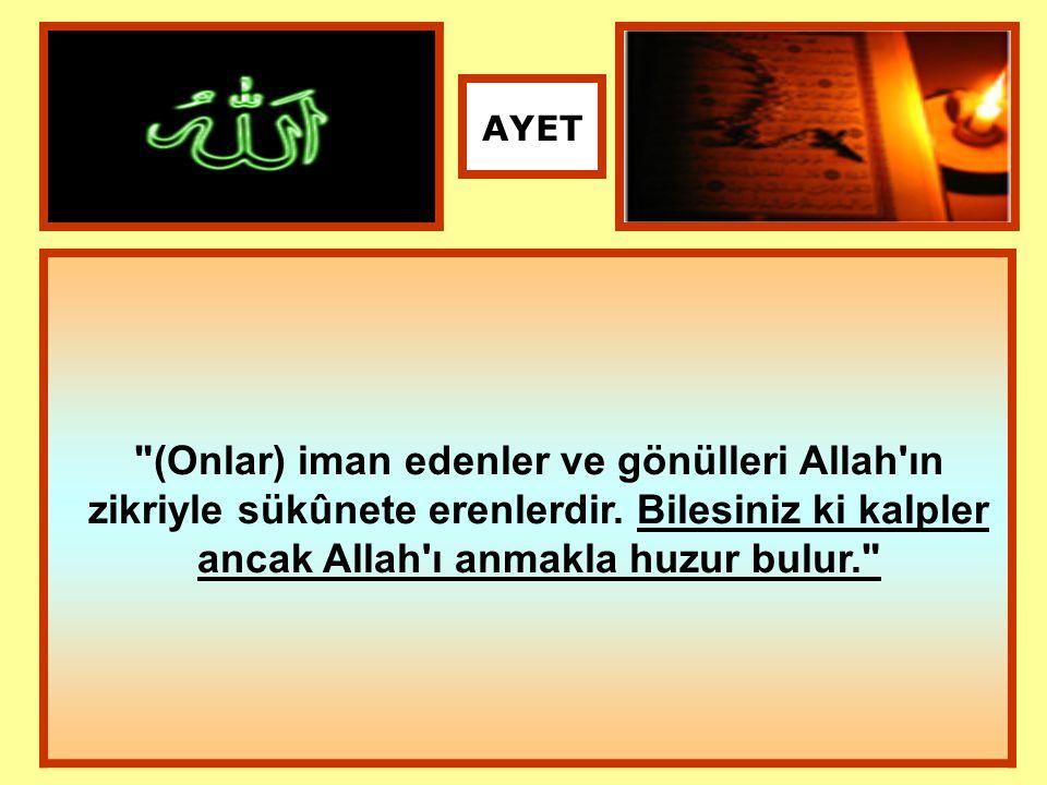 (Onlar) iman edenler ve gönülleri Allah ın zikriyle sükûnete erenlerdir.