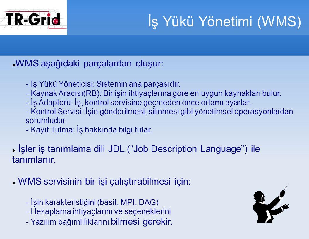 İş Yükü Yönetimi (WMS) WMS aşağıdaki parçalardan oluşur: - İş Yükü Yöneticisi: Sistemin ana parçasıdır.
