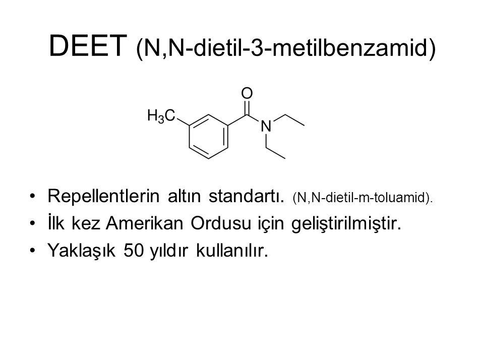 DEET (N,N-dietil-3-metilbenzamid) Repellentlerin altın standartı. (N,N-dietil-m-toluamid). İlk kez Amerikan Ordusu için geliştirilmiştir. Yaklaşık 50