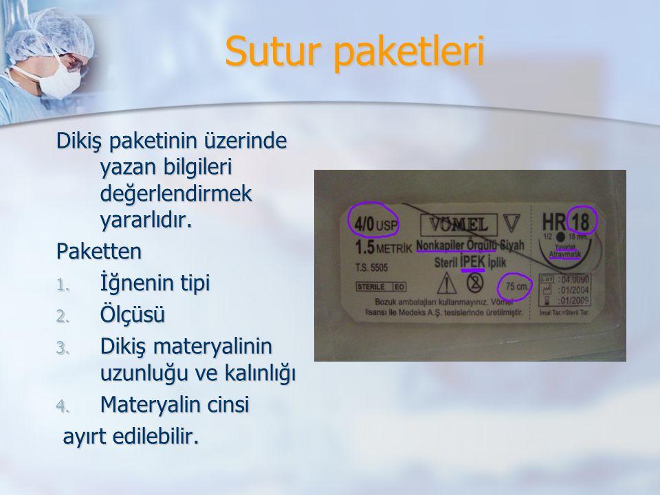 Sutur paketleri Dikiş paketinin üzerinde yazan bilgileri değerlendirmek yararlıdır. Paketten 1. İğnenin tipi 2. Ölçüsü 3. Dikiş materyalinin uzunluğu