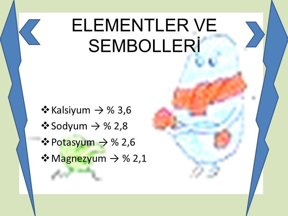 ELEMENTLER VE SEMBOLLERİ  Kalsiyum → % 3,6  Sodyum → % 2,8  Potasyum → % 2,6  Magnezyum → % 2,1