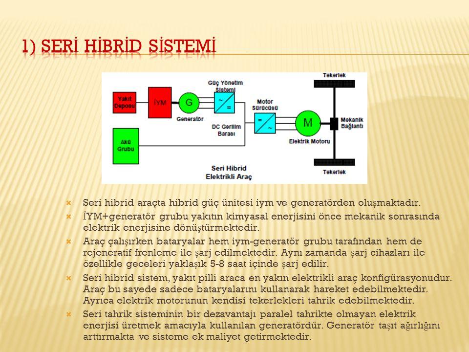  Seri hibrid araçta hibrid güç ünitesi iym ve generatörden olu ş maktadır.  İ YM+generatör grubu yakıtın kimyasal enerjisini önce mekanik sonrasında