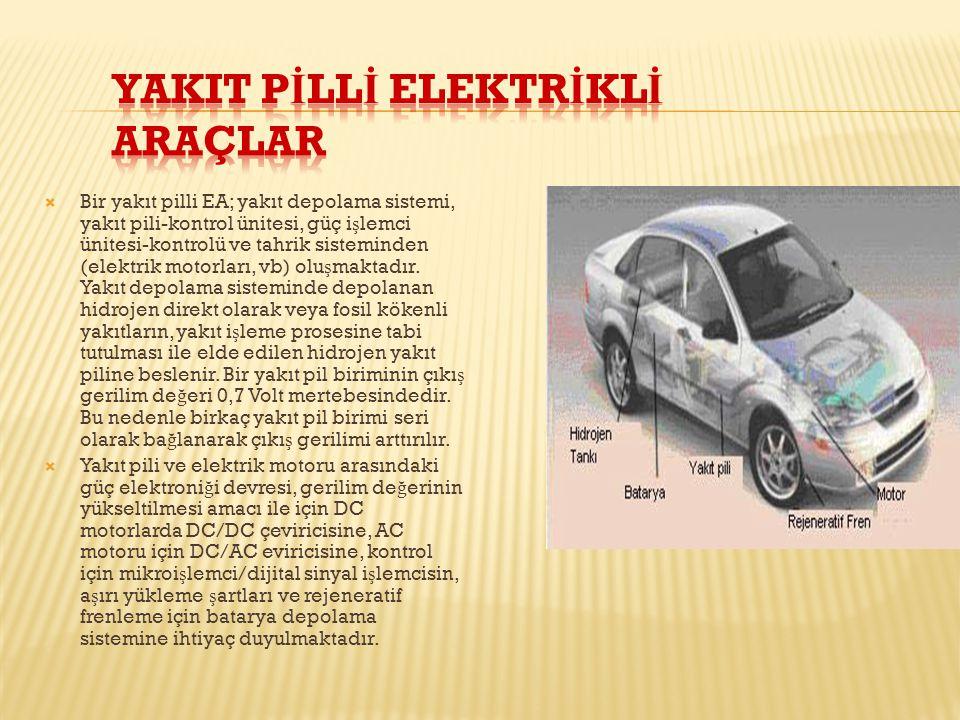  Bir yakıt pilli EA; yakıt depolama sistemi, yakıt pili-kontrol ünitesi, güç i ş lemci ünitesi-kontrolü ve tahrik sisteminden (elektrik motorları, vb