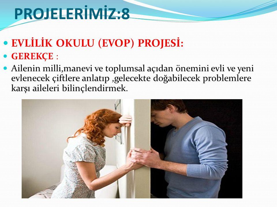 PROJELERİMİZ:8 EVLİLİK OKULU (EVOP) PROJESİ: GEREKÇE : Ailenin milli,manevi ve toplumsal açıdan önemini evli ve yeni evlenecek çiftlere anlatıp,gelece
