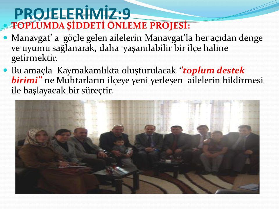 PROJELERİMİZ:9 TOPLUMDA ŞİDDETİ ÖNLEME PROJESİ: Manavgat' a göçle gelen ailelerin Manavgat'la her açıdan denge ve uyumu sağlanarak, daha yaşanılabilir bir ilçe haline getirmektir.