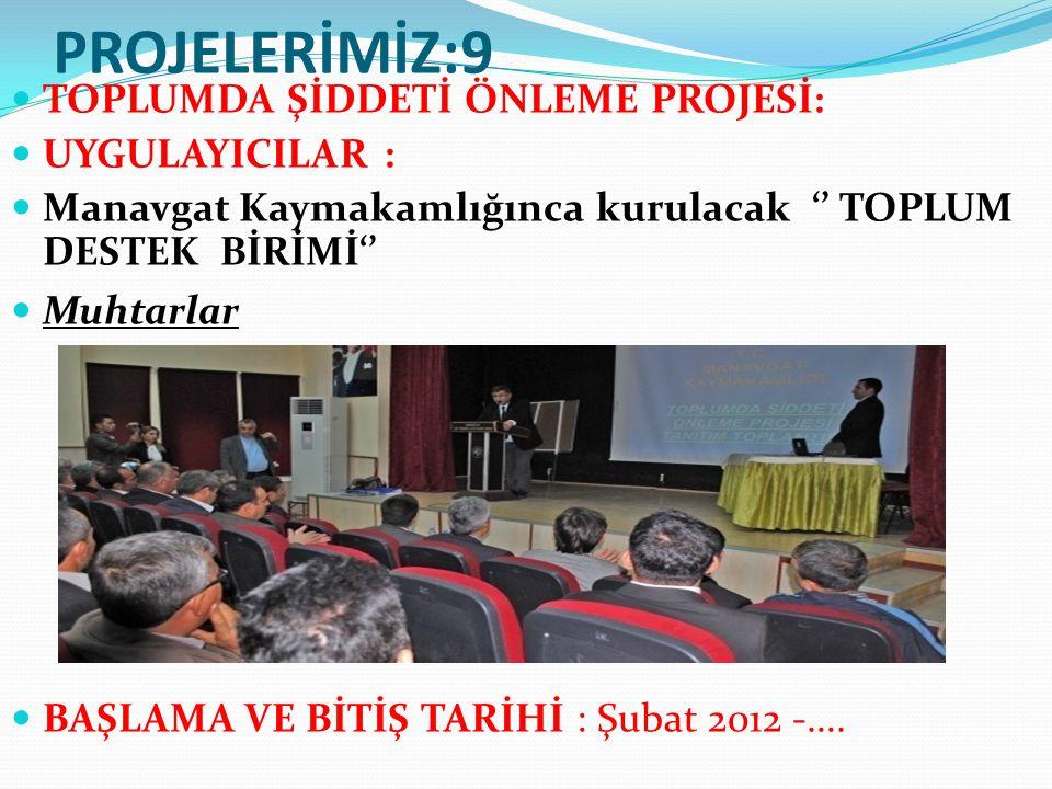 PROJELERİMİZ:9 TOPLUMDA ŞİDDETİ ÖNLEME PROJESİ: UYGULAYICILAR : Manavgat Kaymakamlığınca kurulacak '' TOPLUM DESTEK BİRİMİ'' Muhtarlar BAŞLAMA VE BİTİŞ TARİHİ : Şubat 2012 -….
