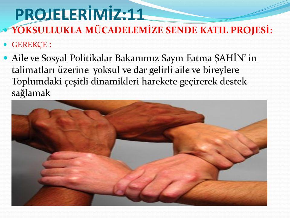 PROJELERİMİZ:11 YOKSULLUKLA MÜCADELEMİZE SENDE KATIL PROJESİ: GEREKÇE : Aile ve Sosyal Politikalar Bakanımız Sayın Fatma ŞAHİN' in talimatları üzerine