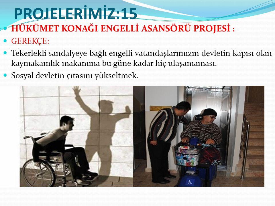 PROJELERİMİZ:15 HÜKÜMET KONAĞI ENGELLİ ASANSÖRÜ PROJESİ : GEREKÇE: Tekerlekli sandalyeye bağlı engelli vatandaşlarımızın devletin kapısı olan kaymakamlık makamına bu güne kadar hiç ulaşamaması.