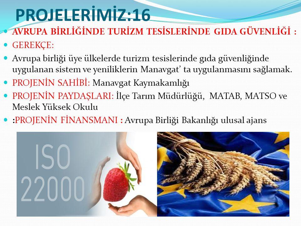 PROJELERİMİZ:16 AVRUPA BİRLİĞİNDE TURİZM TESİSLERİNDE GIDA GÜVENLİĞİ : GEREKÇE: Avrupa birliği üye ülkelerde turizm tesislerinde gıda güvenliğinde uygulanan sistem ve yeniliklerin Manavgat' ta uygulanmasını sağlamak.