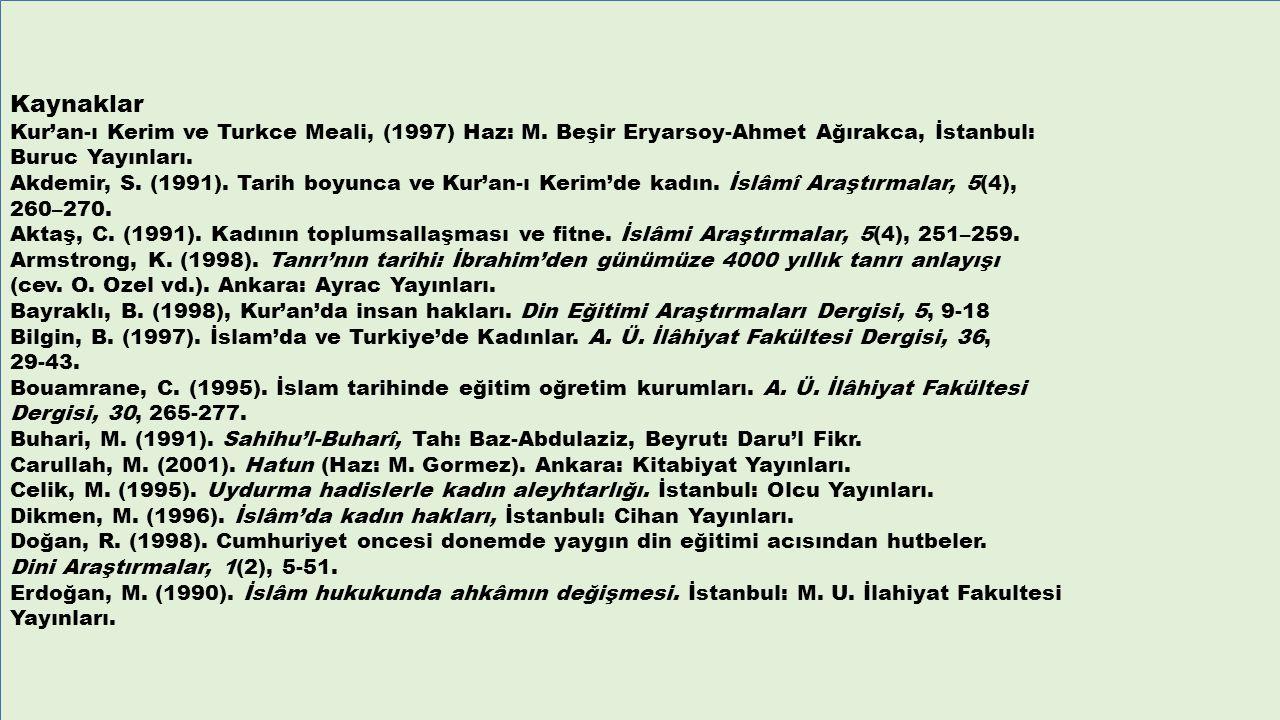 Kaynaklar Kur'an-ı Kerim ve Turkce Meali, (1997) Haz: M. Beşir Eryarsoy-Ahmet Ağırakca, İstanbul: Buruc Yayınları. Akdemir, S. (1991). Tarih boyunca v