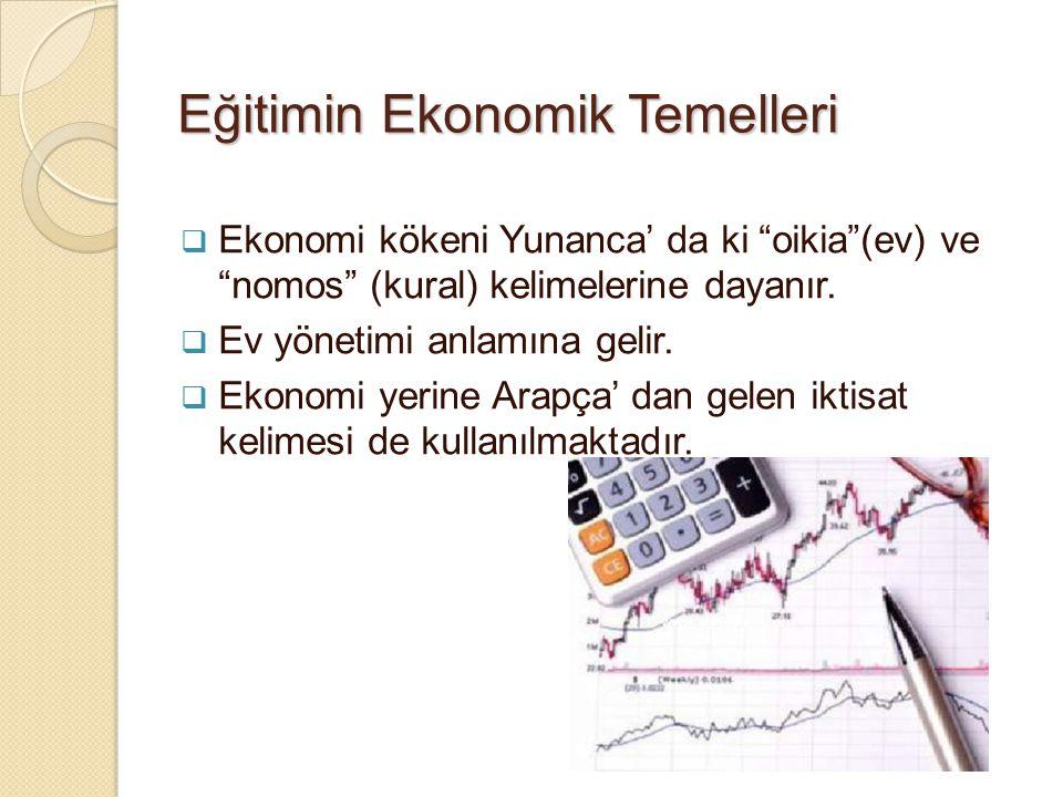E ğ itim Bilimine Giriş3 Ekonomiye ilişkin çeşitli tanımlar: Ekonomi (veya politik ekonomi), parayla ilgili olsun yada olmasın, kişiler arasındaki değişim (mübadele) işlemlerinin incelenmesidir.