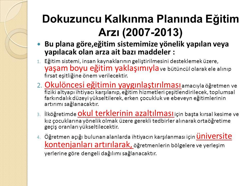 Dokuzuncu Kalkınma Planında Eğitim Arzı (2007-2013) Bu plana göre,eğitim sistemimize yönelik yapılan veya yapılacak olan arza ait bazı maddeler : 1. E