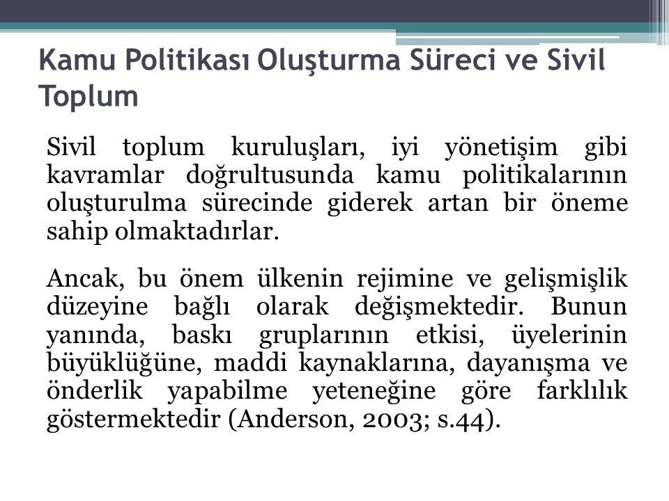 Kamu Politikası Oluşturma Süreci ve Sivil Toplum Sivil toplum kuruluşları, iyi yönetişim gibi kavramlar doğrultusunda kamu politikalarının oluşturulma