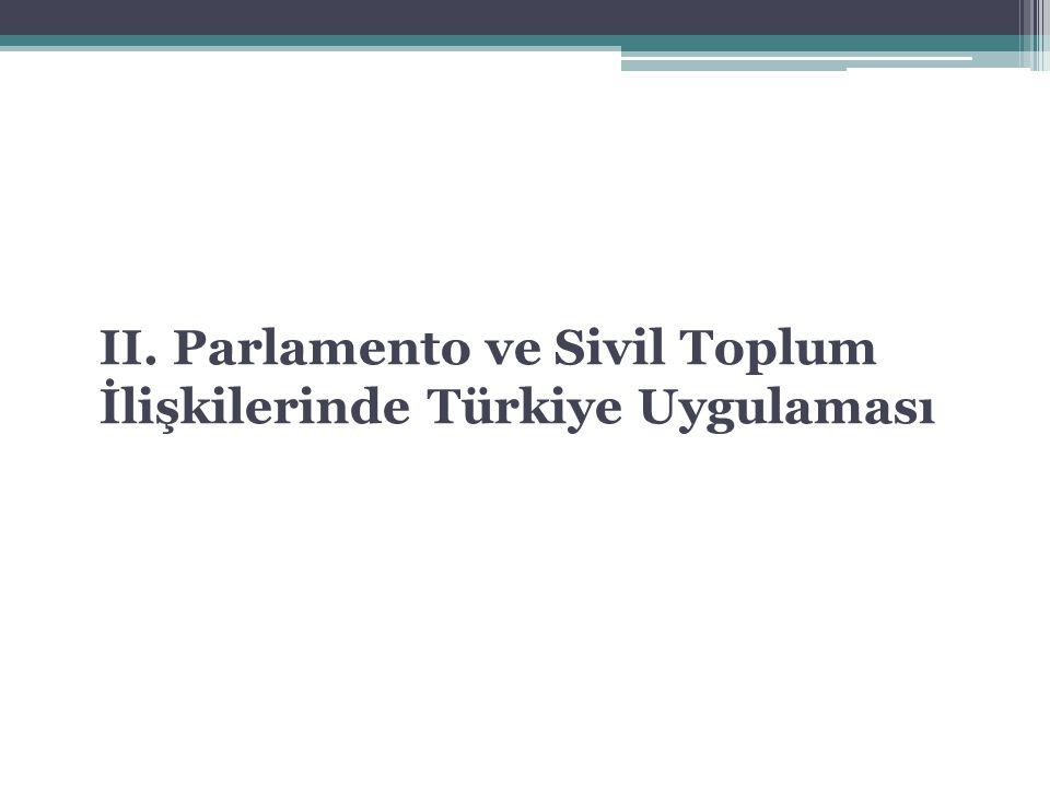 II. Parlamento ve Sivil Toplum İlişkilerinde Türkiye Uygulaması