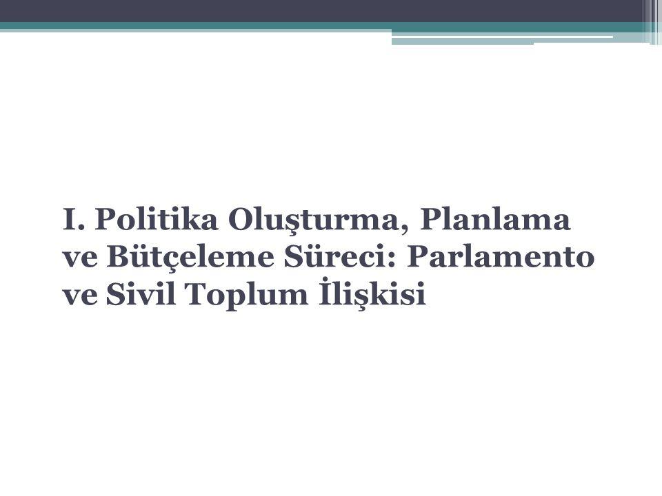 I. Politika Oluşturma, Planlama ve Bütçeleme Süreci: Parlamento ve Sivil Toplum İlişkisi
