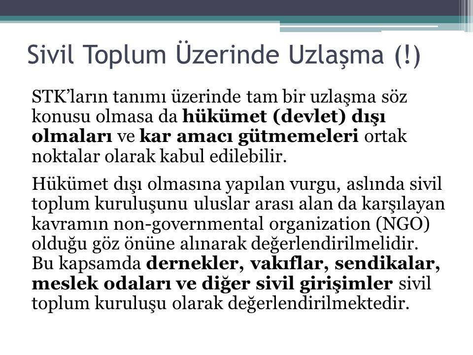 Sivil Toplum Üzerinde Uzlaşma (!) STK'ların tanımı üzerinde tam bir uzlaşma söz konusu olmasa da hükümet (devlet) dışı olmaları ve kar amacı gütmemeleri ortak noktalar olarak kabul edilebilir.