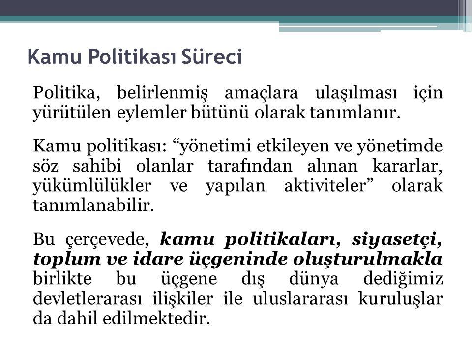 Kamu Politikası Süreci Politika, belirlenmiş amaçlara ulaşılması için yürütülen eylemler bütünü olarak tanımlanır.