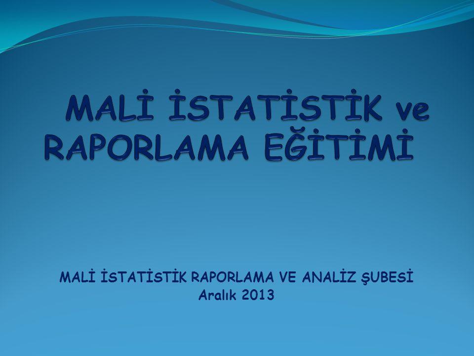 MALİ İSTATİSTİK RAPORLAMA VE ANALİZ ŞUBESİ Aralık 2013